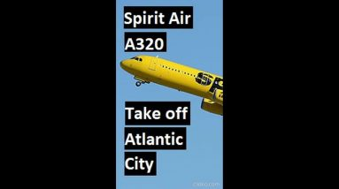 Spirit airline A319 takes off from Atlantic City airport #shorts